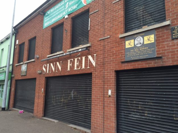 Sinn Fein political office on the Falls Road, battened down for the evening.