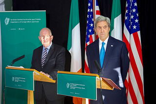 U.S. Secretary of State John Kerry and Irish Foreign Minister Charlie Flanagan address reporters at the Aherlow House Hotel in Tipperary.