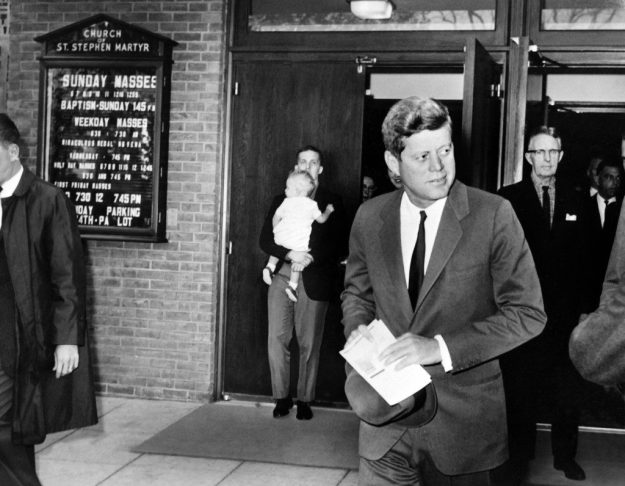 Undated photo of Kennedy leaving St. Stephen Martyr on Pennsylvania Avenue in Washington, D.C.