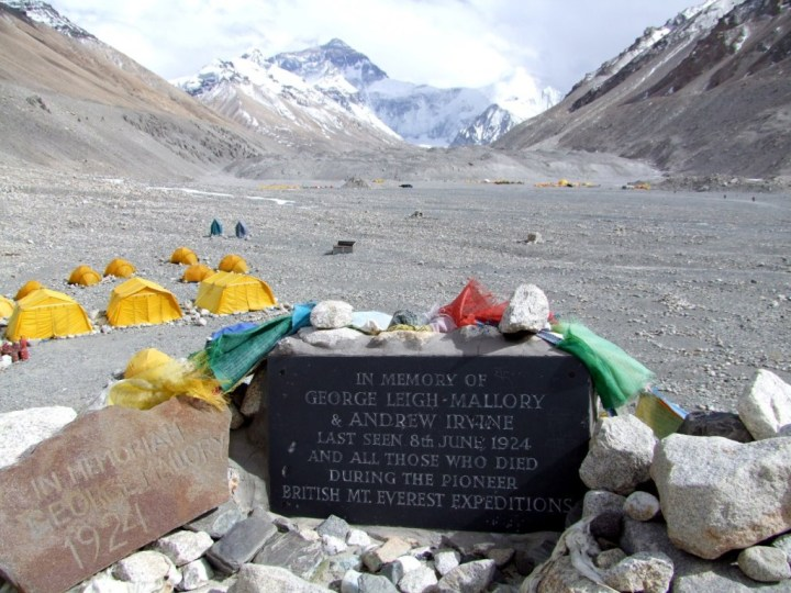 The memorial to George Mallory and Sandy Irvine at base camp on the north side of Everest