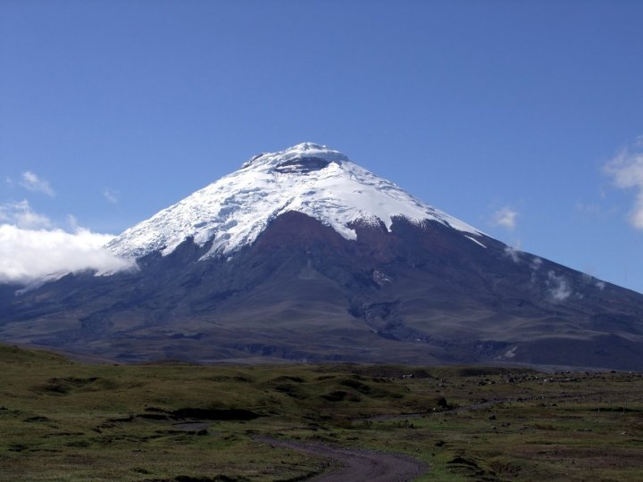 Quintessential conical view of Cotopaxi from the Limpiopungo Plain