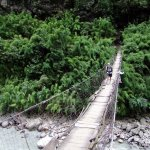The rickety old wooden bridge