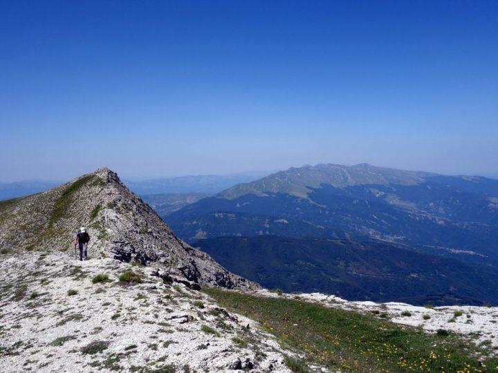 On Monte Corvo's summit ridge, with the west peak and Monte Gorzano behind