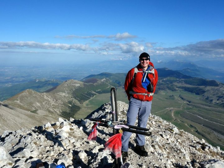Me on the summit of Monte Camicia (2564m), with Campo Imperatore below