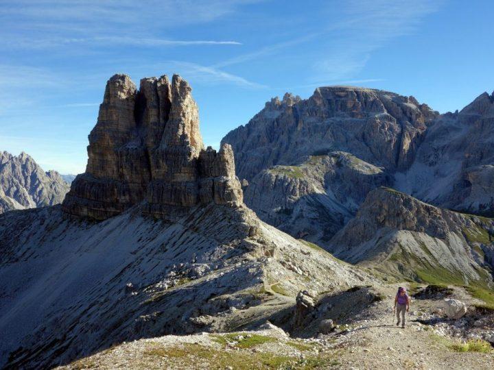 Ascending Sasso di Sesto, with Torre di Toblin behind