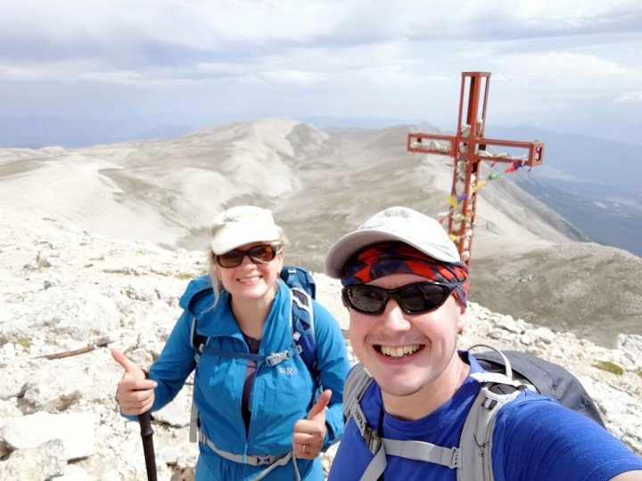 Edita and me on the summit of Monte Amaro for the third time, with the Valle di Femmina Morte behind