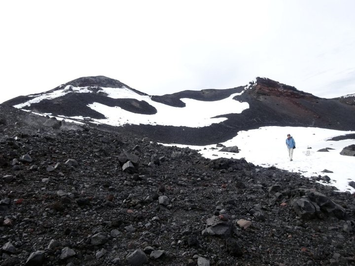 On the crater rim of Tungurahua, with the main summit on the left and a secondary summit on the right