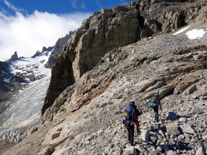 Ascending a scree ridge on Cerro San Lorenzo