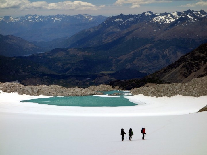 Crossing a snow field below Paso del Comedor