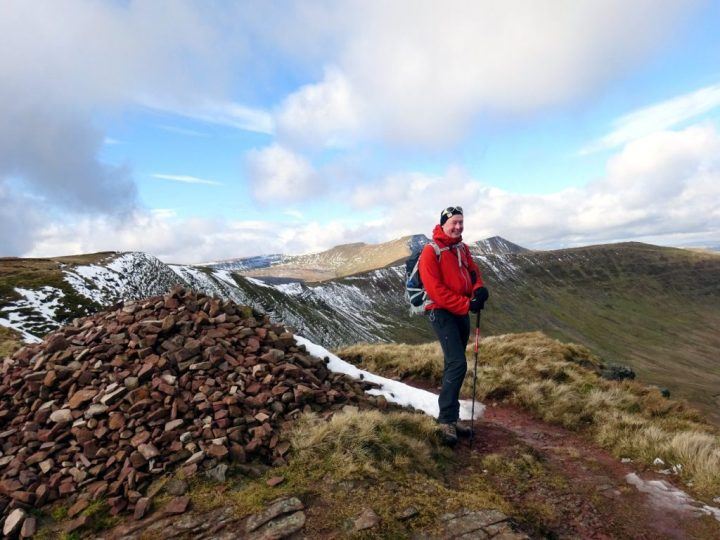"Me at the pile of stones marking the ""summit"" of Bwlch y Ddwyallt"