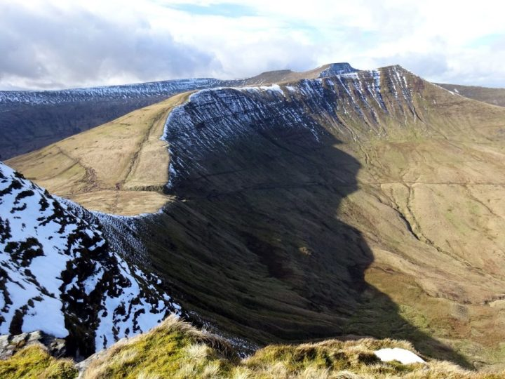 The view from Fan y Big, with Corn Du, Pen y Fan and Cribyn in a line