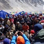 A government delegation at Everest Base Camp in 2014.