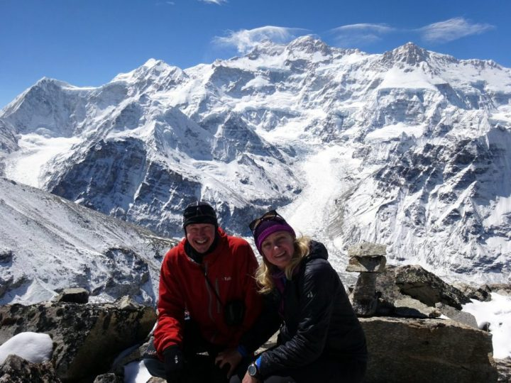 Me and Edita on the summit of Drohmo Ri (5,958m), with the north face of Kangchenjunga behind
