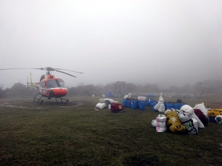 Helicopter grounded in mist at Tseram