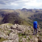 Descending from High Crag, with Hay Stacks on the ridge below, and the bell shape of Great Gable on the horizon