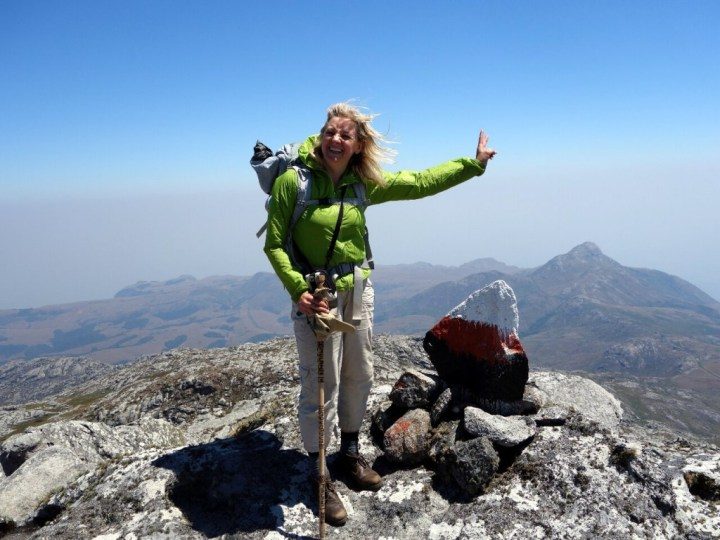 Edita on a windy summit of West Peak (2896m), Mulanje's third highest summit