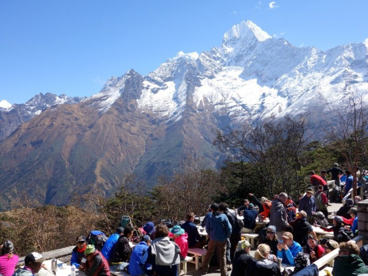 We had a pot of tea with 60,000 other trekkers at the Everest (or in the case of this photo Thamserku) View Hotel