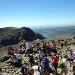 A busy day on Scafell Pike, the highest peak in England - scenes that should be avoided now