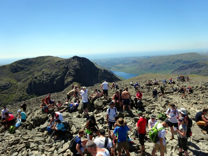 A busy day on Scafell Pike, the highest peak in England - a scene that should be avoided now