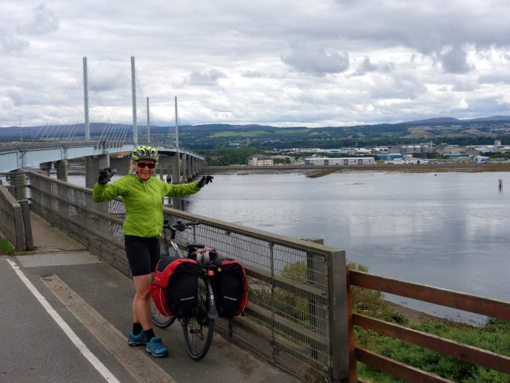 Hurray! Arriving back in Inverness after cycling 516 miles.