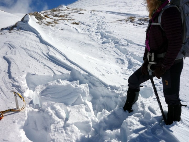 A layer of unconsolidated snow is enough to persuade us Corno Grande isn't going to go today