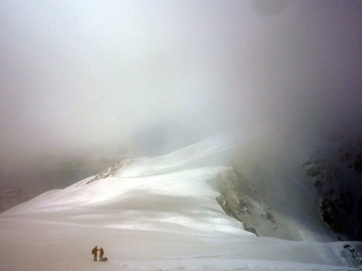 Deep in cloud on Monte Sirente's summit ridge