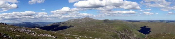 Panorama of the Aran Ridge and Aran Fawddwy from the top of Glasgwm
