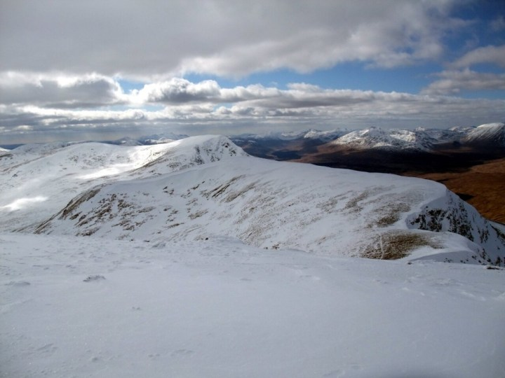 Looking back across Meall Buidhe to Beinn Achaladair from the summit of Beinn a Chreachain