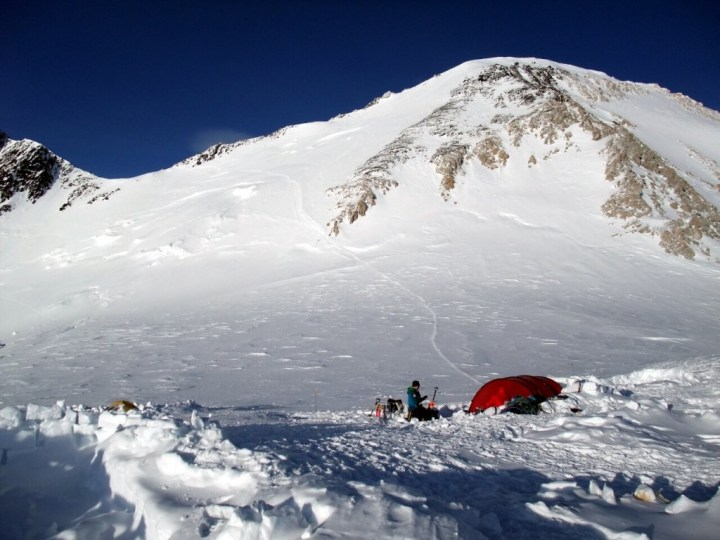 Looking up the Autobahn to Denali Pass and the main summit during a rare clear spell at Camp 4
