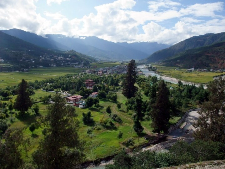 This is the view across Paro, Bhutan's second city, and that's the king's palace down below. Yes, really.