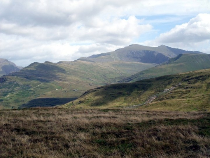 Snowdon with the route of the Llanberis Path in front