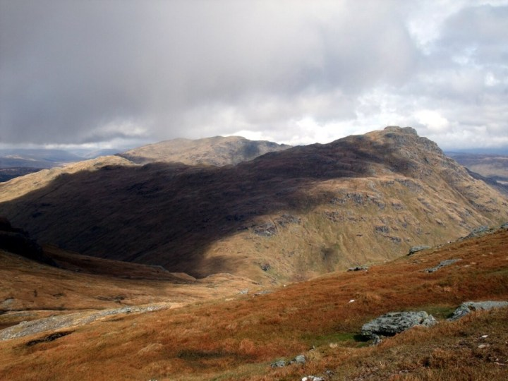 Ben Vorlich (back) and Ben Vane (front) from the pathless flanks of Beinn Ime