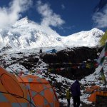 Manaslu from base camp this morning. The main summit lies behind the daunting East Pinnacle on the left of this photo.