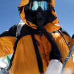 Me wearing my oxygen apparatus on the summit of Manaslu