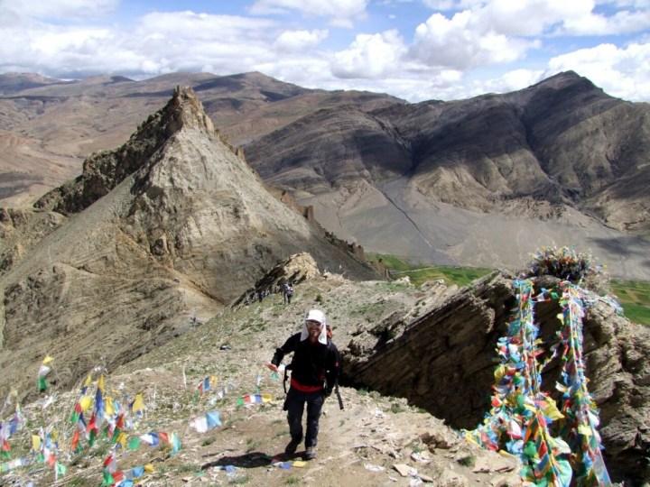 Ascending a ridge above Shegar