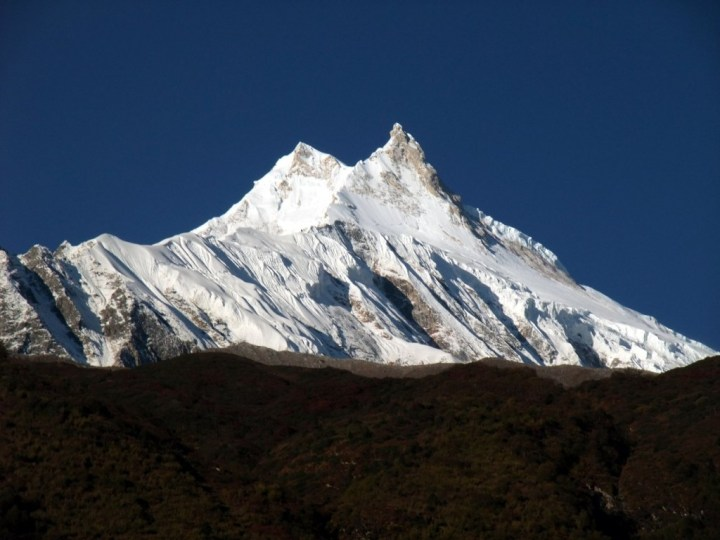 The twin peaks of Manaslu from Samagaon