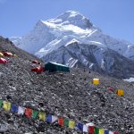 Cho Oyu from base camp this morning