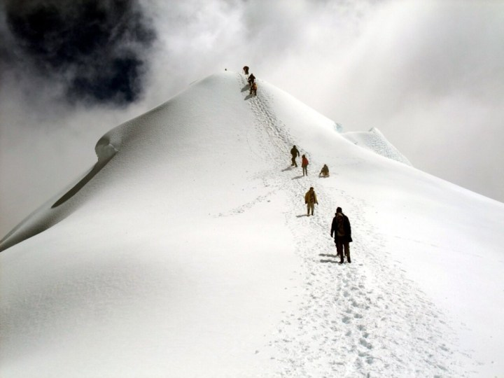 Figures on the summit dome of Ritacuba Blanco