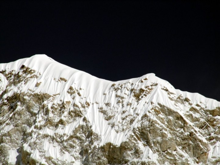 Climbers on the summit ridge of Baruntse - do they think nobody can see them?