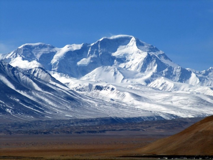 The North Face of Cho Oyu (8201m) from Tingri in Tibet. Tenzing Peak (7916m) is likely to be the one on the left.