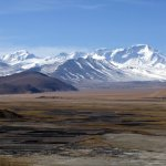 Everest, Gyachung Kang and Cho Oyu seen across the plateau from Tingri