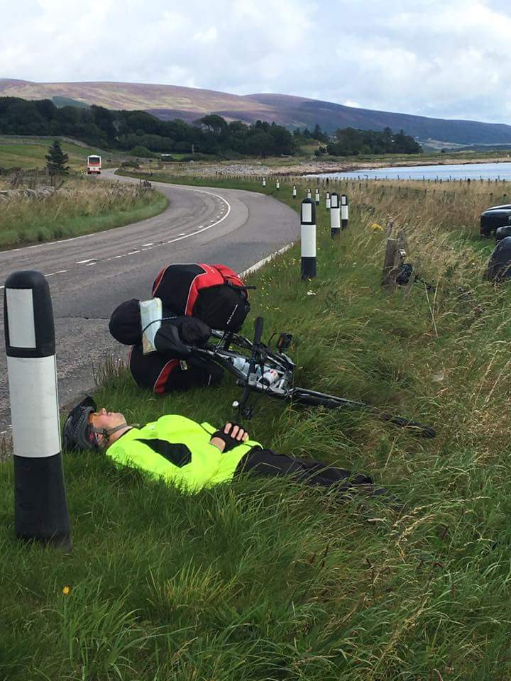 The roadside near Brora is a great place for a nap
