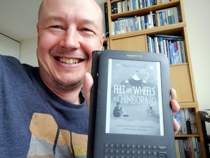 Here it is, Feet and Wheels to Chimborazo, on a good old-fashioned Kindle e-reader that was produced in the year I was born (almost)