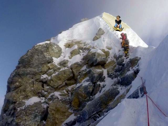 The infamous photograph by Tom Moosedale that suggests the Hillary Step may have changed shape. The Nepalese authorities are claiming that Mr Moosedale manipulated the picture using Photoshop (Photo: Moosedale Expeditions)