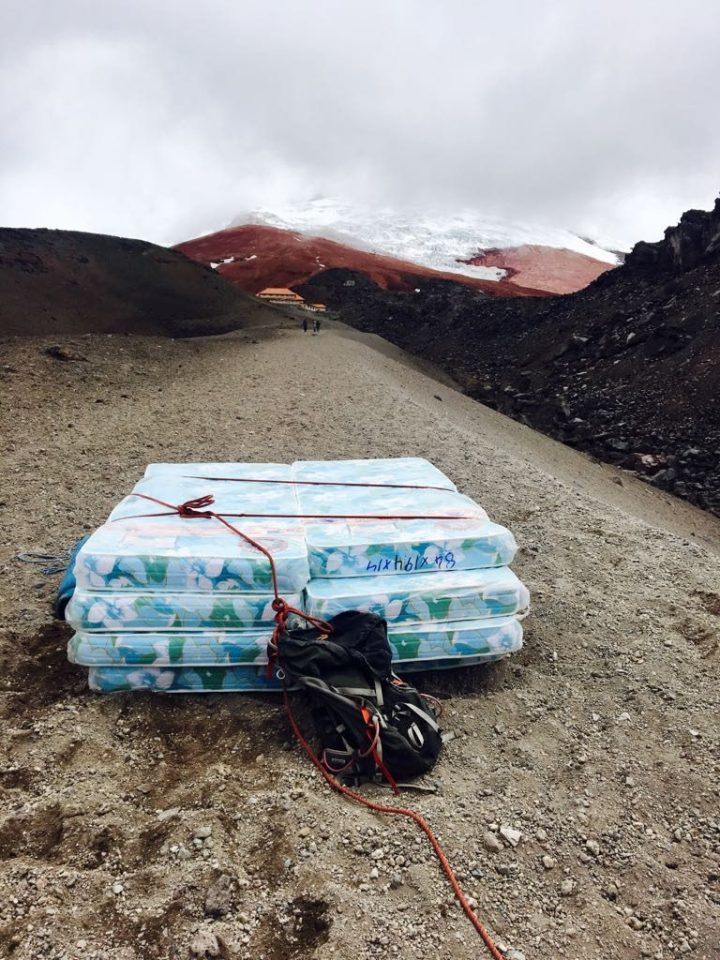 Mattresses ready to be carried up to the refuge on Cotopaxi (Photo: Edita Nichols)