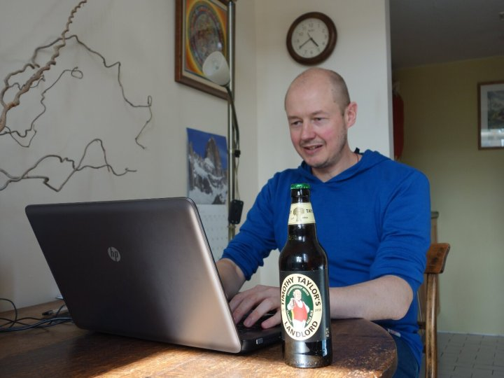 Here I am tapping away at another post. I'm not allowed the beer until I've written at least 2,000 words.