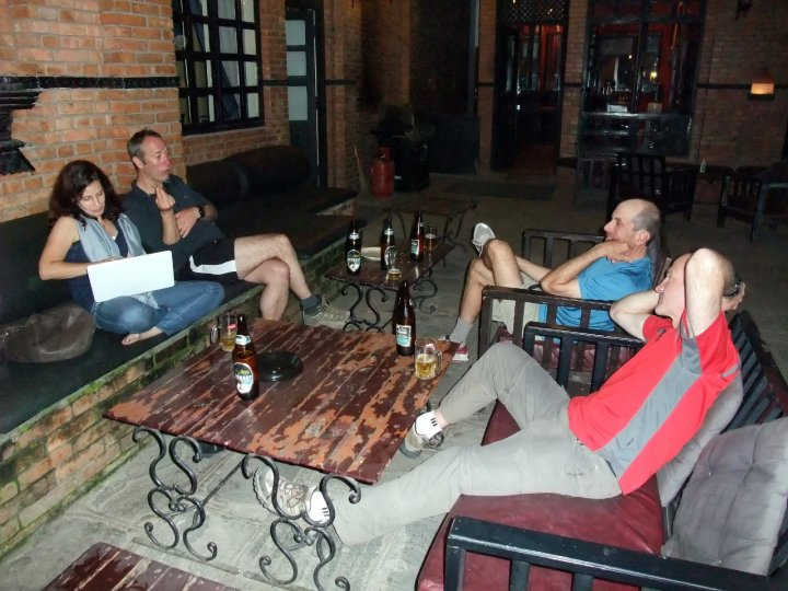 Mark Dickson holds court in the courtyard with Trish Crampton during the old Courtyard Hotel heyday
