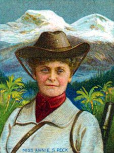 Intrepid Victorian mountaineer Annie Smith Peck stands in front of Huascaran (Photo: Wikimedia Commons)