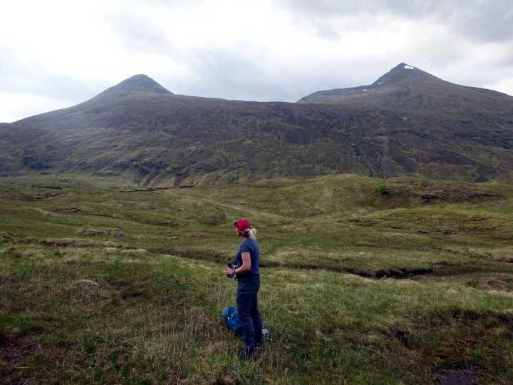 Looking up at Binnein Beag and Binnein Mor from Glen Nevis