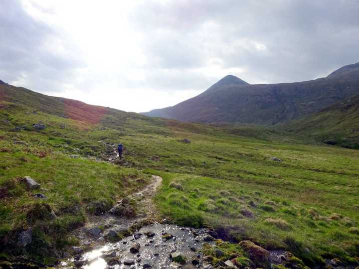 In boggy Glen Nevis with Binnein Beag up ahead